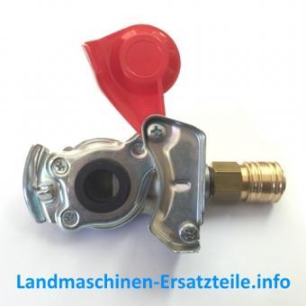 Druckluftadapter rot für Druckluftvorrat, Luftkompressorstecker, LKW, Traktor